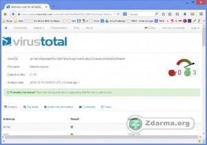 Výsledek skenování souboru na VirusTotal