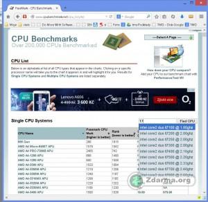 Vyhledávání procesoru s našeptáváním