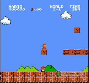 Záběr ze hry Free Mario. Pod Máriem je jedna z příšer.
