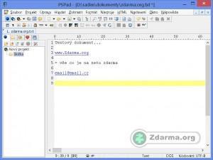 Okno PsPadu s textovým dokumentem