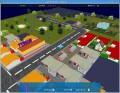 Detail se silnicí, obchody a autem.