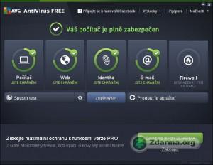 Hlavn� okno antiviru AVG Free s informacemi o ochran�