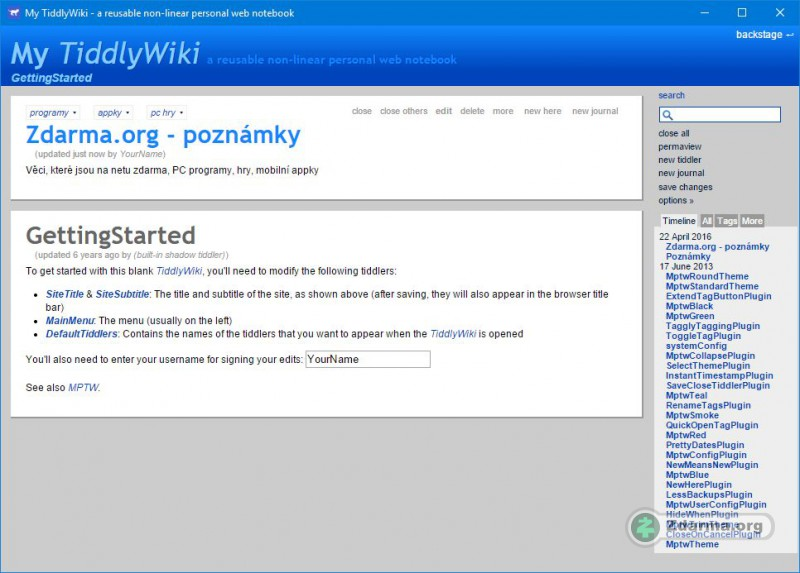 TiddlyWiki  a reusable nonlinear personal web notebook