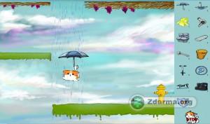 Prostředí hry Raincat s předměty, které kočce umístíte před začátkem. Například klíč k utažení stříkající vody nebo pláštěnku.