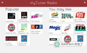prostředí myTuner Radio - nabídka radií