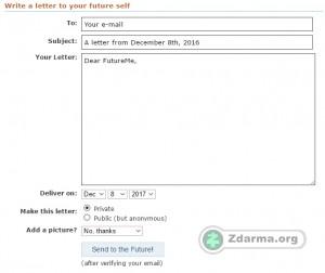 formulář pro odeslání e-mailu do budoucnosti
