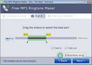 Úprava skladby v programu Free MP3 Ringtone Maker