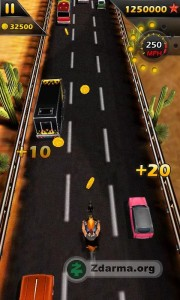 závody na motorce z prostředí města mezi dopravou