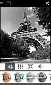 černobílé umělecké fotografování v této aplikaci