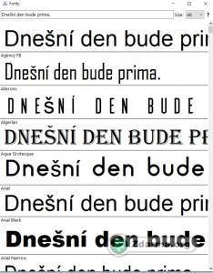 Rozhraní programu Fonty