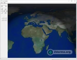 mapa se zemí, kde je možné sledovat pozice slunce a měsíce