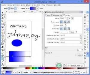 Kresba v programu Inkscape. Přechod, napsaný text a kresba tužkou.