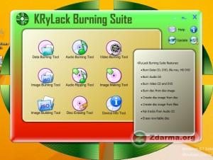 Ikonky pro spuštění funkcí programu Krylack Burning Suite