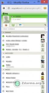 Prostředí webového klienta ICQ