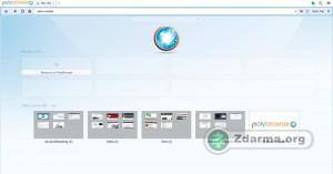 Okno prohlížeče po spuštění