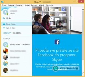 Komunikátor Skype v zobrazení v jednom velkém okně