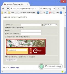 Registrace účtu na webu. Registrovat lze i přes klienta v PC.