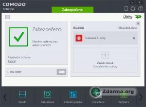 Kompaktní zobrazení hlavního panelu Comodo Antivirus