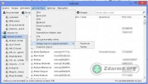 Adresář kontaktů s menu rozšíření gContactSync