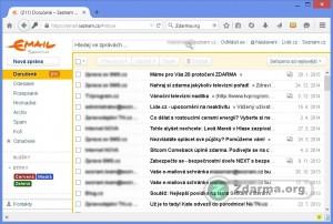 Došlá pošta webového prostředí v emailové schránce Seznam.cz