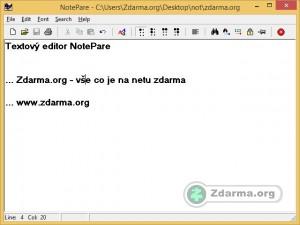 Textový editor NotePare s napsaným textem