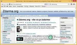 Prohlížeč Safari s načtenou webovou stránkou