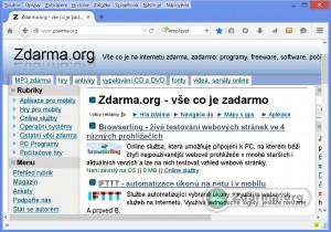 Mozilla Firefox s načteným webem