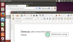 Webový prohllížeč a LibreOffice spuštěné v Ubuntu