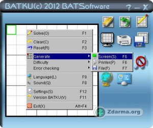 Program Batku s menu vygenerování Sudoku