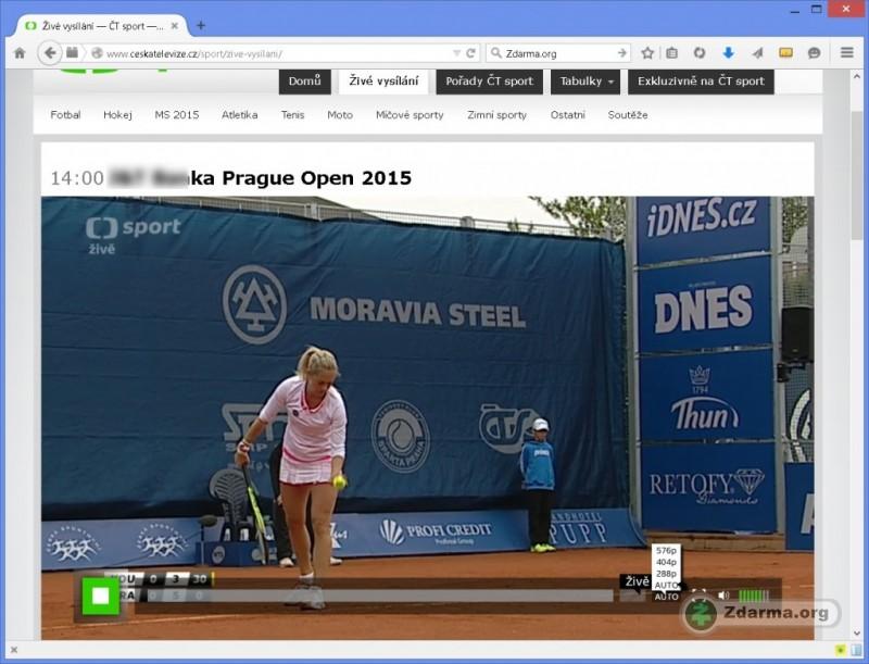 d843413cd Živé vysílání ČT Sport, zvolit lze kvalitu i obraz přes celou obrazovku