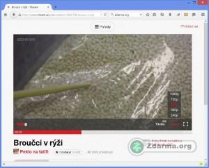 Přehrávání videa pořadu s možností nastavit kvalitu obrazu