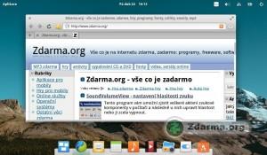 elementary OS s webovým prohlížečem a dokovací lišta jako u Maců
