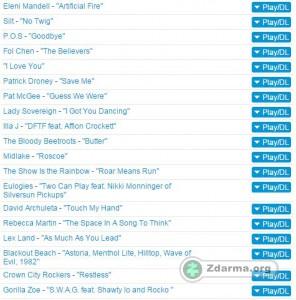 Ukázka seznamu písniček ke stažení přes službu ARTISTdirect