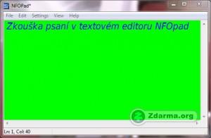 Ukázka psaní v textovém editoru NFOpad