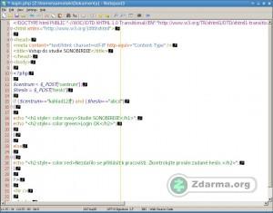 Notepad3 s otevřeným PHP souborem se zvýrazněním syntaxe a zobrazením konců řádků. Editor automaticky odsazuje text.